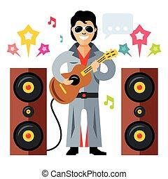 roll., plat, style, guitar., illustration., coloré, artiste,...
