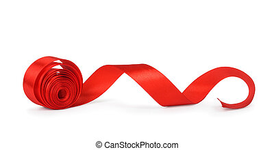 roll red ribbon isolated on white background