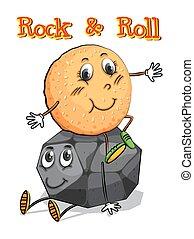 Roll sitting on rock