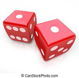 Two red dice with ones facing up symbolizing snake eyes, a score you might get in a gambing game at a casino
