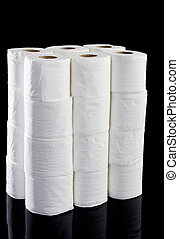 roll tissue on black background