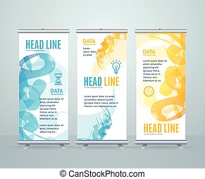 Roll Up Banner Stand Design with Abstract Geometric Shape. Vector