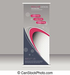 Roll up banner stand template. Abstract background for design, business, education, advertisement. Grey and pink color. Vector illustration.