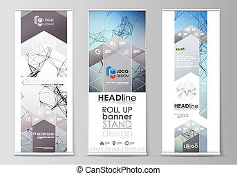 Roll up banner stands, abstract geometric design templates,...