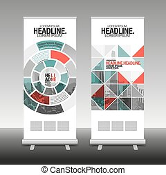 roll up business brochure flyer banner design vertical template vector. abstract geometric background. x-stand , x-banner and flag-banner.