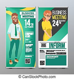Roll Up Stand Vector. Vertical Flag Blank Design. Businessman And Business Woman. For Business Conference. Invitation Concept. Green, Yellow. Modern Flat Illustration