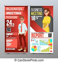 Roll Up Stand Vector. Vertical Flag Blank Design. Businessman And Business Woman. For Business Conference. Invitation Concept. Red, Yellow. Modern Flat Illustration