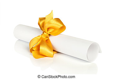 roll white paper with red tape