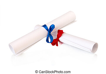roll white paper with ribbon