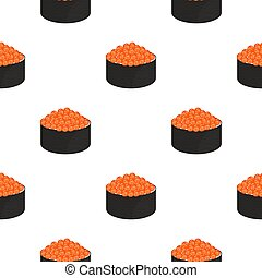 Roll with caviar. Seamless pattern. Traditional japanese food.