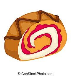 Roll with cream and raspberry jam cake dessert vector