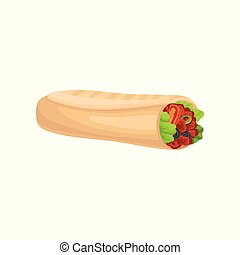 Roll with meat and fresh vegetables. Fast food theme. Flat vector design for menu, cafe branding or promo poster