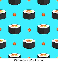 Roll with salmon and caviar. Seamless pattern. Traditional japanese food.