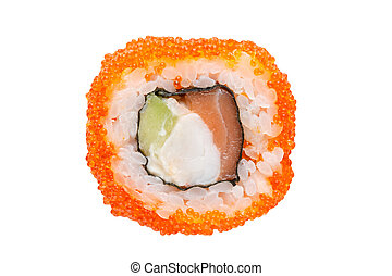 Roll with salmon, cream cheese and avocado in caviar of flying fish on a white background.