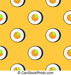 Roll with salmon. Seamless pattern. Traditional japanese food.