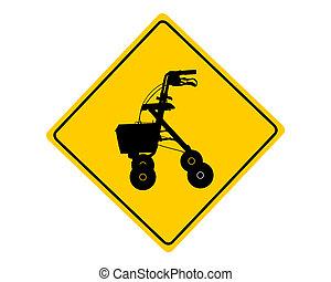 rollator, simbolo di avvertenza