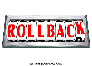 Roll Back words on an odometer, or roll back, to illustrate discounting or saving money in a store sale, or turning back time to visit history and change events