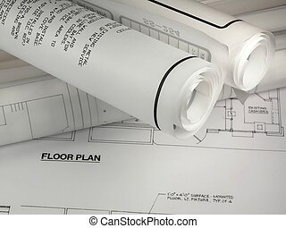 Rolld Plans - rolled up plans on a floor plan