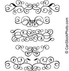 rolle, cartouche, dekor, vektor, abbildung