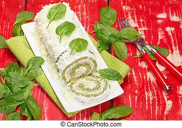 rolle, kã¤se, schinkenkate, spinat