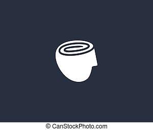 rolle, kopf, papier, gehirn, toilette, spirale, besessenheit, menschliche , modern, design, ikone, dumbass, logotype., vektor, logo, illustration.