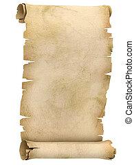 rolle, pergament, abbildung, 3d