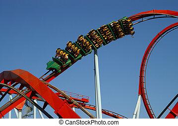 Rollecoaster ride - Fun in a rollercoaster ride in Spain.