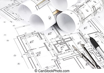 Rolled building plans - Blueprint floor plans with drawing...