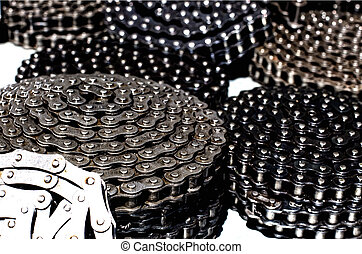 Rolled chains for transmission - Close up of rolled new...