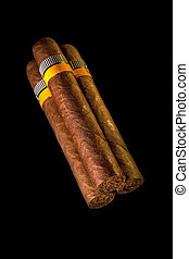 rolled cigars from a tobacco leaf on a black background, Small depth of sharpness