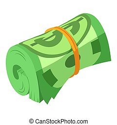 Rolled dollars icon, isometric style