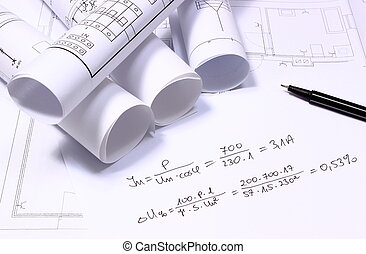 Rolled electrical diagrams and mathematical calculations