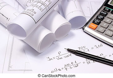 Rolled electrical diagrams, calculator and mathematical calculations