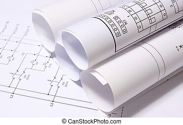 Rolled electrical diagrams, drawings for the projects...