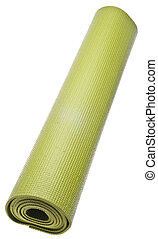 Rolled Green Yoga Mat Isolated on White with a Clipping Path...