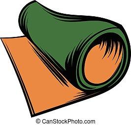 Rolled mat icon cartoon