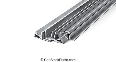 Rolled Metal angles Isolated on White Background.. 3d illustration