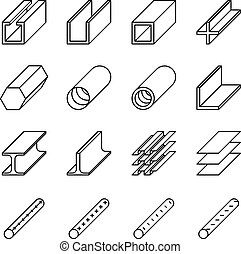 Rolled metal product icons. Vector pictograms - Rolled metal...