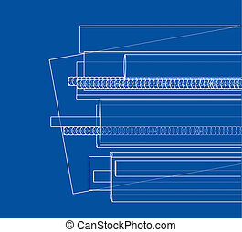 Rolled metal products. 3d illustration. Wire-frame style