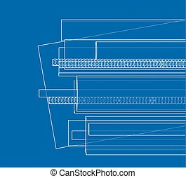 Rolled metal products. Vector rendering of 3d. Wire-frame...