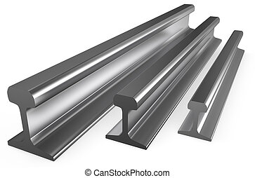 rolled metal, rails  isolated on white background