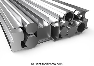 rolled metal stock 3 - rolled metal stock isolated on white...