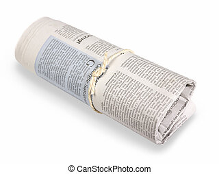 rolled german newspaper in light back
