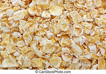 Rolled oats close up. Full frame shoot.