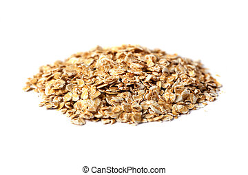 rolled oats flakes on a white background