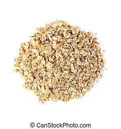rolled oats flakes on a white background, top view