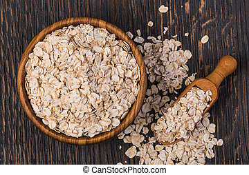 Rolled oats isolated on white background