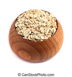 rolled oats with wooden bowl isolated on white background