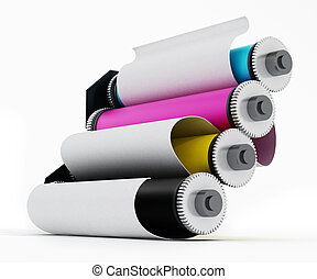 Rolled paper inside CMYK printing cylinders - Rolled white...