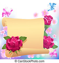 Rolled parchment and roses - Folded parchment for your text...